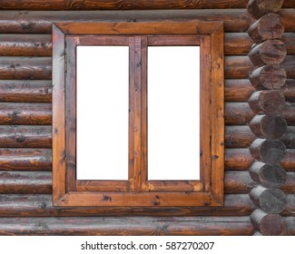 A wooden window in a wall made of logs with white background