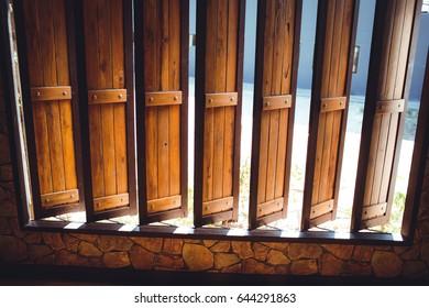 Wooden windows.