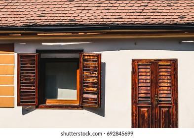 Wooden windows and door in Sibiu, Romania
