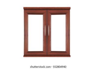 wooden windows isolated on white background
