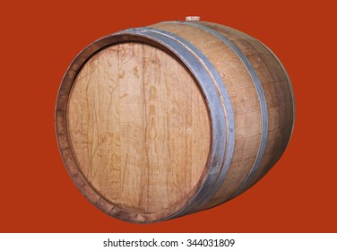 Wooden wine barrel, isolated on the red.