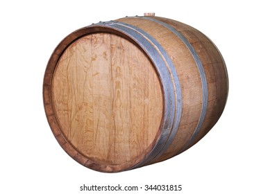 Wooden wine barrel, isolated on the white.