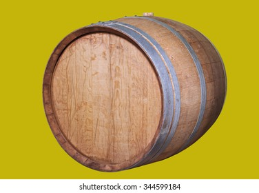 Wooden wine barrel, isolated on the yellow.