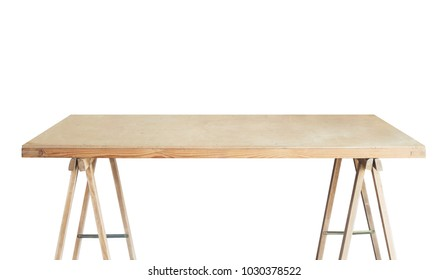 Wooden workshop table. Isolated workbench.