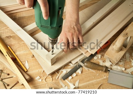 Wooden Workshop Table Tools Mans Arms Stock Photo Edit Now