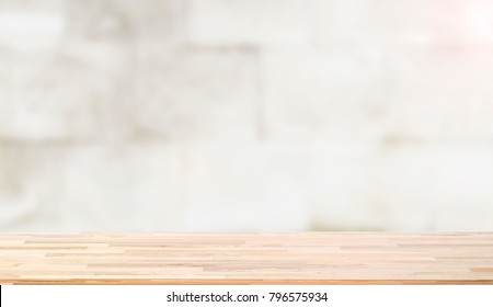 Wooden worktop on blur background