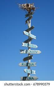 wooden world guidepost (New York, Berlin, Warsaw, Sofia, Odessa, Rome, Istanbul)