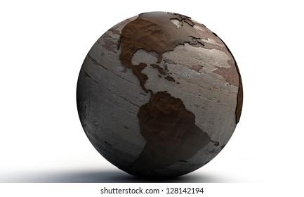 wooden world isolated on white background