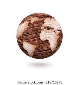 Wooden world on white background