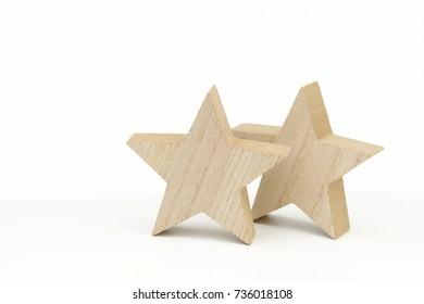 wooden xmas star on white
