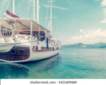Wooden Yacht In Sea Port, Travel Concept