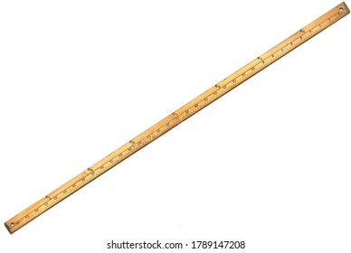Wooden yardstick on white backgrounds whit centimeters and yard fractions scales.