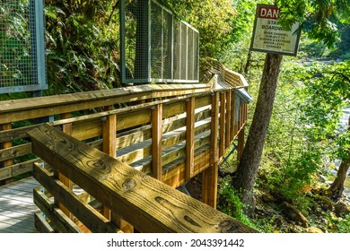 A woodend walkway to Lower Snoqualmie Falls in Washington State.
