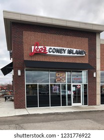 WOODHAVEN, MICHIGAN-NOVEMBER 8, 2018:  Leo's Coney Island in suburban Detroit.  Leo's is a deli style restaurant featuring coney dogs; hot dogs covered with chili , mustard and onions.