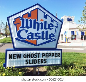 WOODHAVEN, MI-OCTOBER 10, 2016:  White Castle sign with the restaurant in the background.