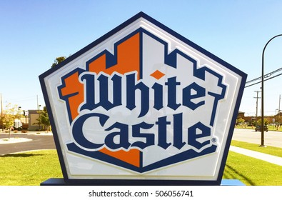 WOODHAVEN, MI-OCTOBER 15, 2016:  Sign for a new White Castle restaurant.