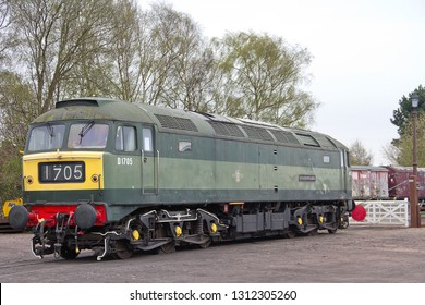 WOODHOUSE, LEICESTERSHIRE, UK - APRIL 28, 2013: BR Class 47 No. D1705 (47117) 'Sparrow Hawk' stands on display in the Quorn and Woodhouse Station car park area, during the GCR's Swithland Steam Gala.