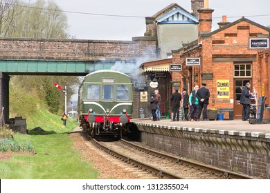 WOODHOUSE, LEICESTERSHIRE, UK - APRIL 28, 2013: Class 101 DMU departs from Quorn and Woodhouse Station, working the 2D10 12:31 local service to Loughborough, during the railways Swithland Steam Gala.