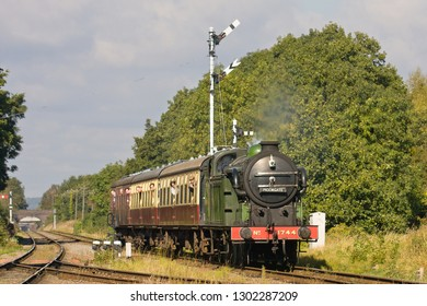 WOODHOUSE, LEICESTERSHIRE, UK - OCTOBER 6, 2012: Steam locomotive  GNR Gresley N2 0-6-2T No. 1744 approaches Quorn and Woodhouse during the Great Central Railway's Autumn Gala.