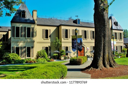 Woodinville, Washington/USA- September, 5, 2018- Chateau Ste. Michelle Winery. Getting a free wine tasting before the summer is over.