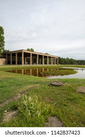 The Woodland Crematorium and Memorial Hall of the Woodland Cemetery (Skogskyrkogarden), Stockholm, Sweden - 26 Jun 2018: In 1994, Skogskyrkogarden was named a UNESCO World Heritage Site.