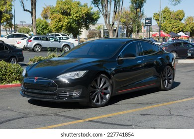 Woodland Hills, CA - November 2, 2014: Tesla Model S at the Supercar Sunday Electric Vehicles in Woodland Hills, CA.