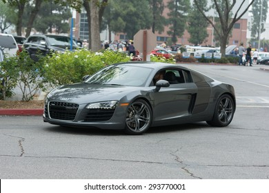 Woodland Hills, CA, USA - July 5, 2015: Audi R8 Coupe car on display at the Supercar Sunday car event.