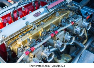 Woodland Hills, CA, USA - June 7, 2015: Jaguar engine car on display at the Supercar Sunday car event.