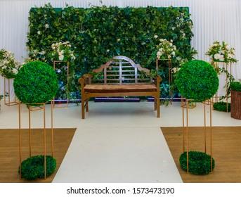 Woodland themed wedding stage green