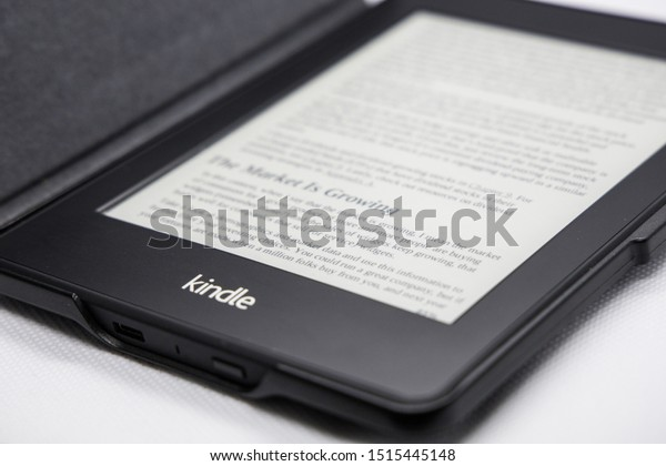Woodlands / Singapore - September 27th 2019: Kindle e-book reader is one of the best selling product develop by Amazon.