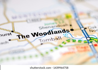 The Woodlands. Texas. USA on a geography map