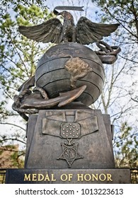 The Woodlands TX USA - Jan. 25, 2018  -  Medal of Honor Monument in The Woodlands TX USA