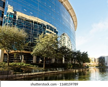 The Woodlands TX USA - Jan. 25, 2018  -  Building Reflexion Along The Waterway The Woodlands TX