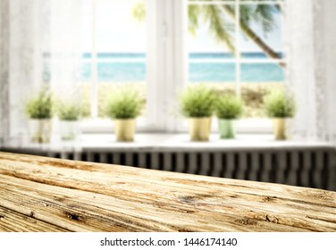 Woodne desk of free space for your product and summer window space