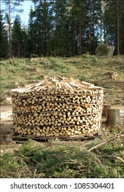 woodpile built into round form
