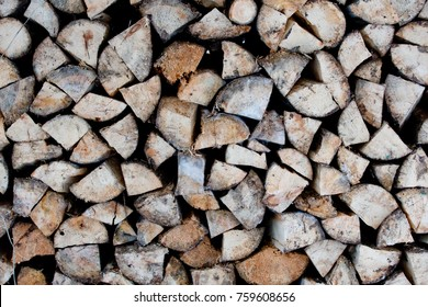 The woodpile of firewood