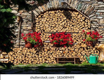 woodpile in the home garden with green watering can and three flower pots with red flowers