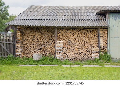 Woodpile in Russian village