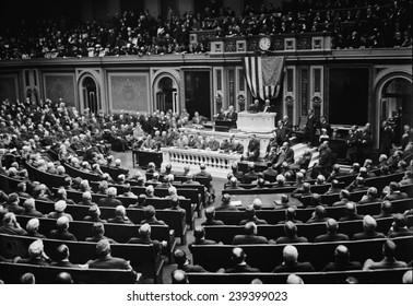 Woodrow Wilson (1856-1924) addressing Congress in 1916.