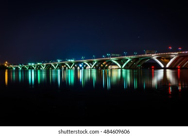 The Woodrow Wilson Bridge at night, in Alexandria, Virginia.