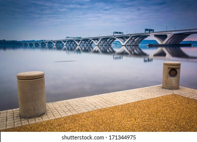 The Woodrow Wilson Bridge, seen from the Potomac River waterfront in Alexandria, Virginia.
