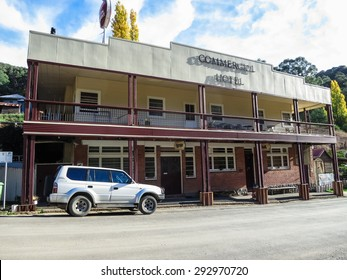 Woods Point, Victoria - April 25, 2013: the Commercial Hotel is the last remaining hotel in the small gold mining town of Woods Point, between Melbourne and Mansfield.