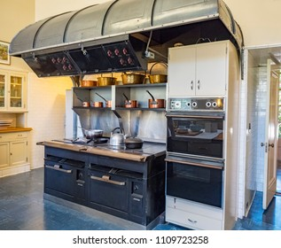 Woodside, CA, USA -  July 30, 2016 -  An Antique Kitchen at Carrington Mansion and Gardens also known as Filoli Country House, Woodside California