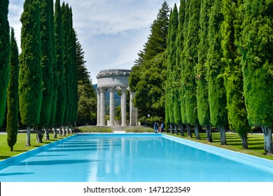 Woodside, CA/USA - Aug. 5, 2019: Pulgas Water Temple. Erected by the San Francisco Water Department to commemorate the 1934 completion of the Hetch Hetchy Aqueduct.