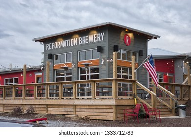 WOODSTOCK, GA - MARCH 7, 2019: Reformation Brewery's new downtown Woodstock brewhouse is located at 105 Elm Street.