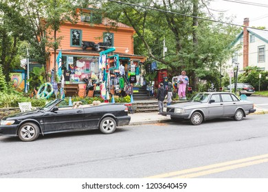Woodstock, New York / USA - 10 1 2018: legendary Woodstock village, streets and store, architecture details.