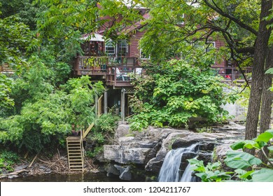 Woodstock, New York / USA - 10 1 2018: legendary Woodstock village, streets and store, architecture details. Waterfall.