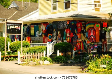 Woodstock, NY, USA June 1, 2008 A store in Woodstock, New York, invokes the spirit of 1969, selling vintage styles and posters of rock stars from the 1960s.
