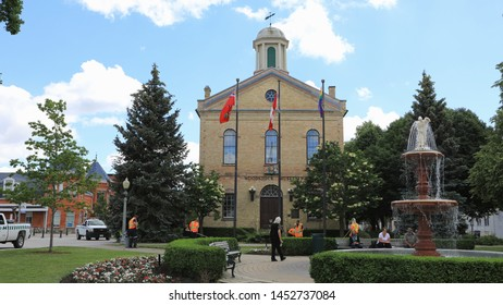 WOODSTOCK, ONTARIO/CANADA- JUNE 26, 2017: A View of the Old City Hall in Woodstock, Ontario, Canada