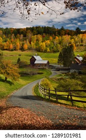 Woodstock, Vermont, United States - October 11, 2014: Driveway to Sleepy Hollow Farm on Cloudland Road Woodstock Vermont in the Fall